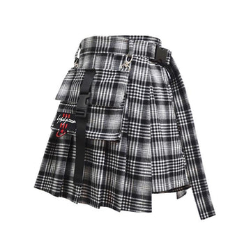 Modakawa Skirt Plaid / S Gothic Irregular Skirt Fashion Harajuku Retro Chain