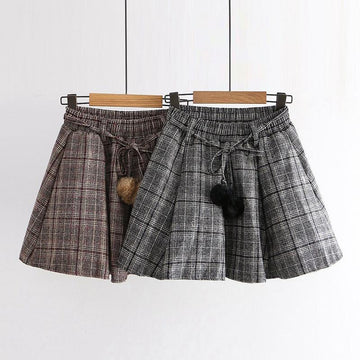 Modakawa Skirt Plaid Skirt Elastic High Waist Fuzzy Ball Belted