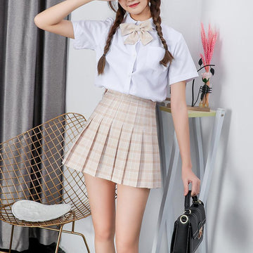 Modakawa Skirt Plaid Uniform A-line High Waist Pleated Skirt