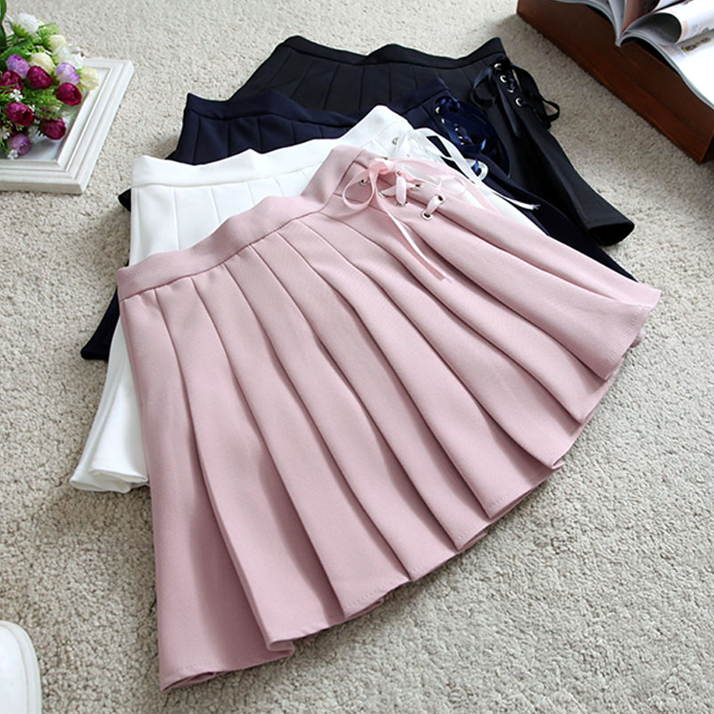 Modakawa Skirt Pure Color High Waist Pleated Skirt