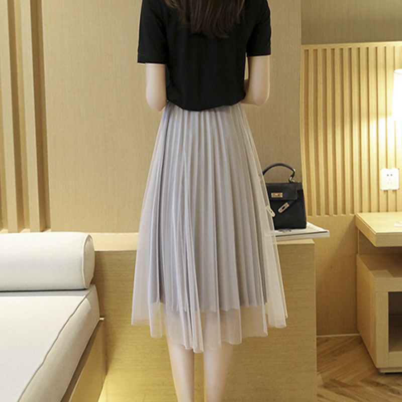 Modakawa Skirt Pure Color Mesh Pleated Skirt