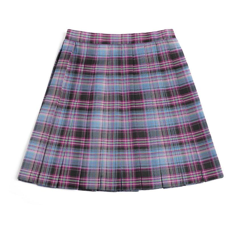 Modakawa Skirt Purple & Blue / XS Plaid JK Uniform High Waist Pleated Short Skirt