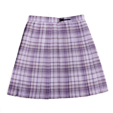 Modakawa Skirt Purple / XS Plaid JK Uniform High Waist Pleated Short Skirt