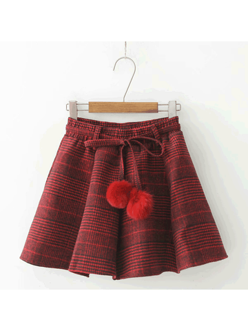 Modakawa Skirt Red Fluzzy Ball Plaid Pleated Skirt