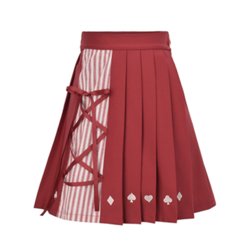 Modakawa Skirt Red / S Sweet Love Heart Stripe Pleated Skirt