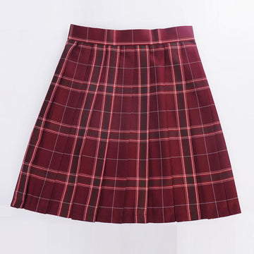 Modakawa Skirt Red / XS Plaid Pleated College Style Japanese JK Skirt