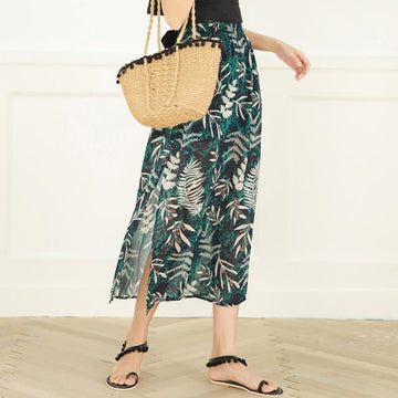 Modakawa Skirt S Flower Print Chiffon Beach Vacation Skirt