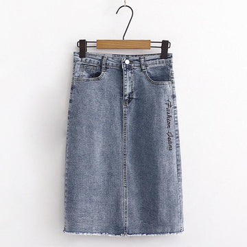 Modakawa Skirt S Letter Embroidery Denim Split Skirt