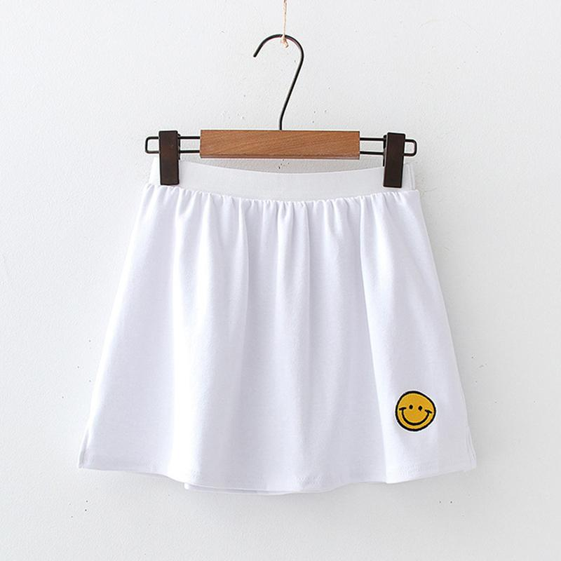 Modakawa Skirt Smiling Face / One Size Embroidery Slit White Base Short Skirt