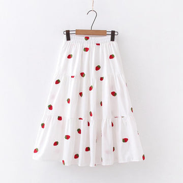 Modakawa Skirt Strawberry / One Size Cherry Strawberry Pineapple Embroidery A-line Pleated Skirt