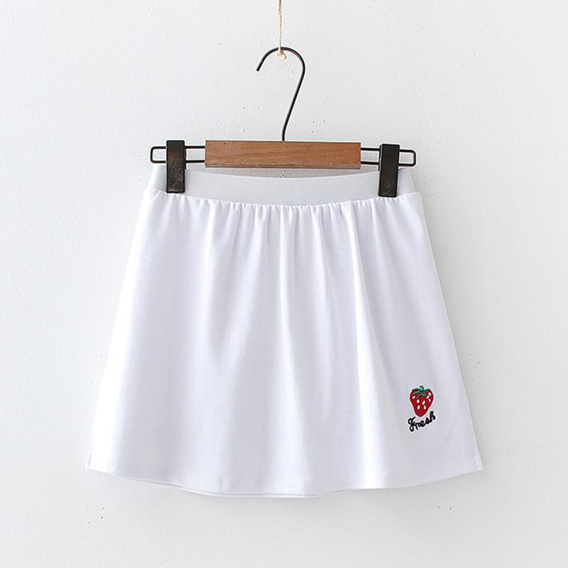 Modakawa Skirt Strawberry / One Size Embroidery Slit White Base Short Skirt