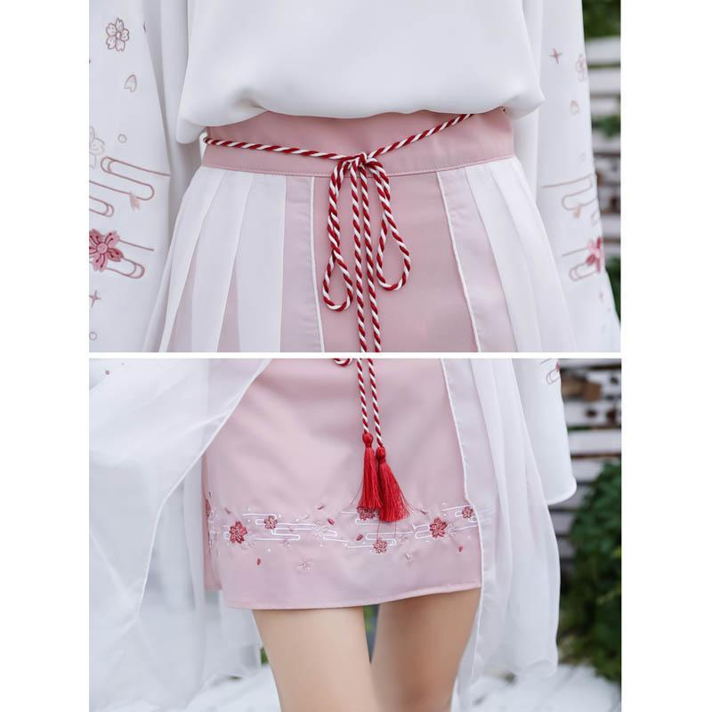 Modakawa Skirt Sweet Flower Embroidery Tassels Tulle Skirt