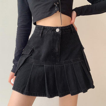 Modakawa Skirt Vintage Black Denim Short Skirt