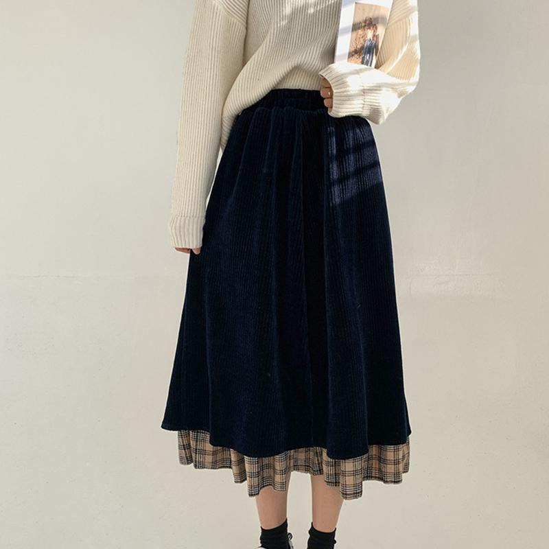 Modakawa Skirt Vintage Corduroy Plaid High Waist Skirt