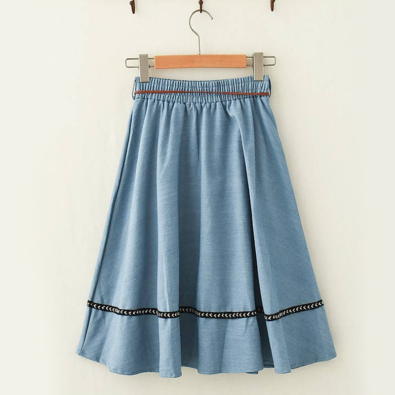 Modakawa Skirt Vintage Mori Girl Denim Skirt