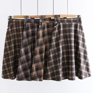 Modakawa Skirt Vintage Plaid High Waist Skirt