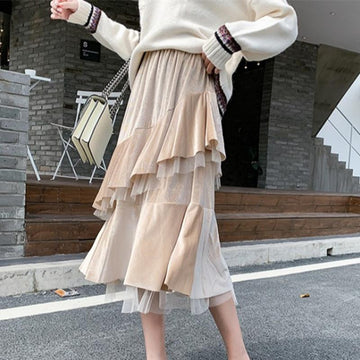 Modakawa Skirt Vintage Pure Color Ruffle Winter Skirt