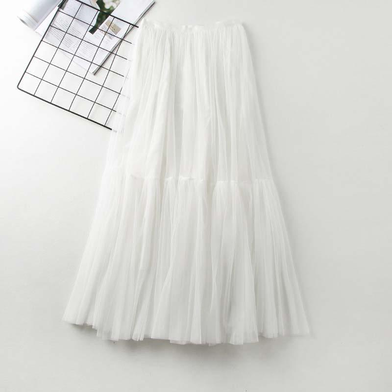 Modakawa Skirt White High Waist A-Line Tulle Skirt