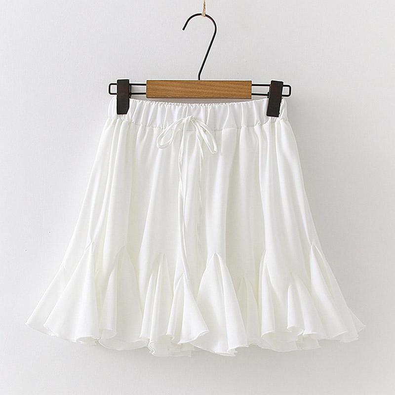 Modakawa Skirt White / One Size Chiffon Drawstring Pleated Ruffle Pure Color Skirt