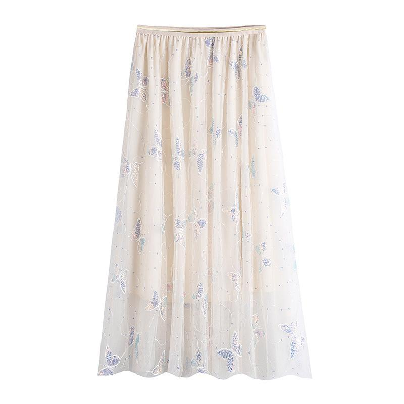 Modakawa Skirt White / S Butterfly Embroidery Tulle A-line Skirt