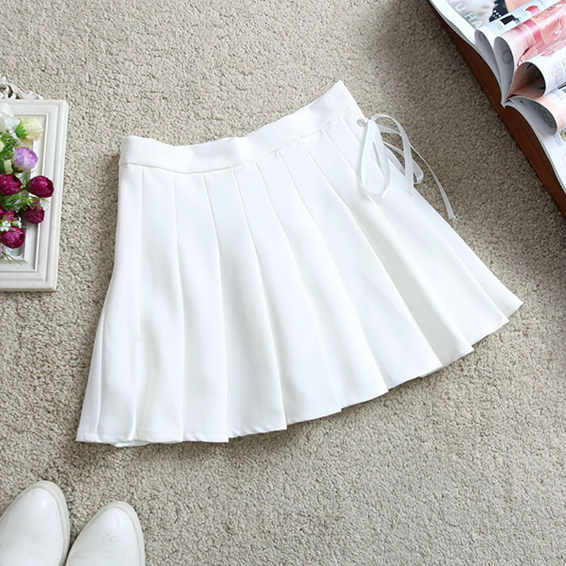 Modakawa Skirt White / S Pure Color High Waist Pleated Skirt