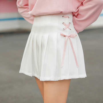 Modakawa Skirt White / S Short Pleated School Girl Skirts