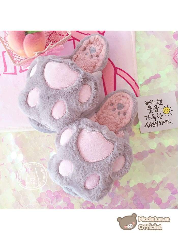 Modakawa Slippers 35~36 / Grey Cat Claw Slippers for Women Slippers Pink