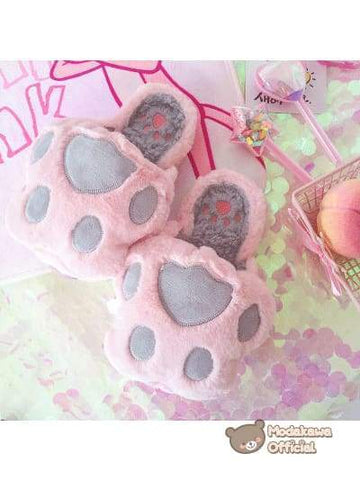 Modakawa - Shoes - Cute Kawaii Pink Winter - Cat Claw Slippers for Women Slippers Pink
