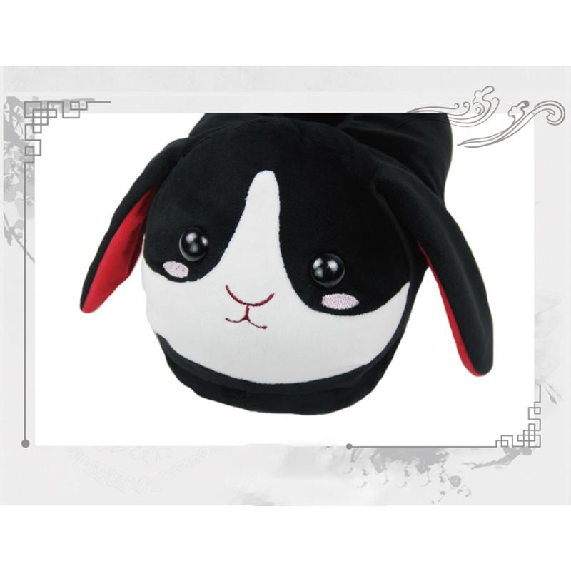 Modakawa Slippers Black / M Bunny Ears Tail Embroidery Cotton Plush Slippers