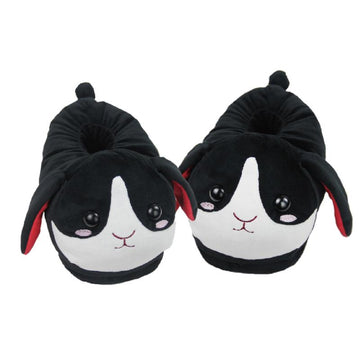 Modakawa Slippers Black / One Size Bunny Ears Tail Embroidery Cotton Plush Slippers