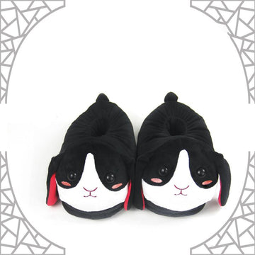 Modakawa Slippers Bunny Ears Tail Embroidery Cotton Plush Slippers