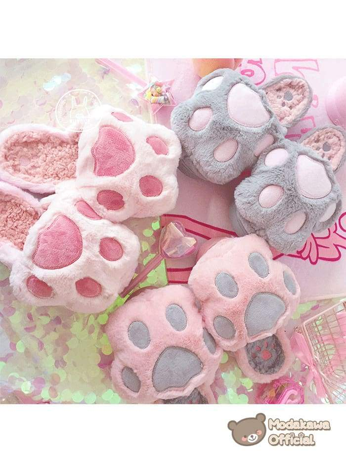 Modakawa Slippers Cat Claw Slippers for Women Slippers Pink
