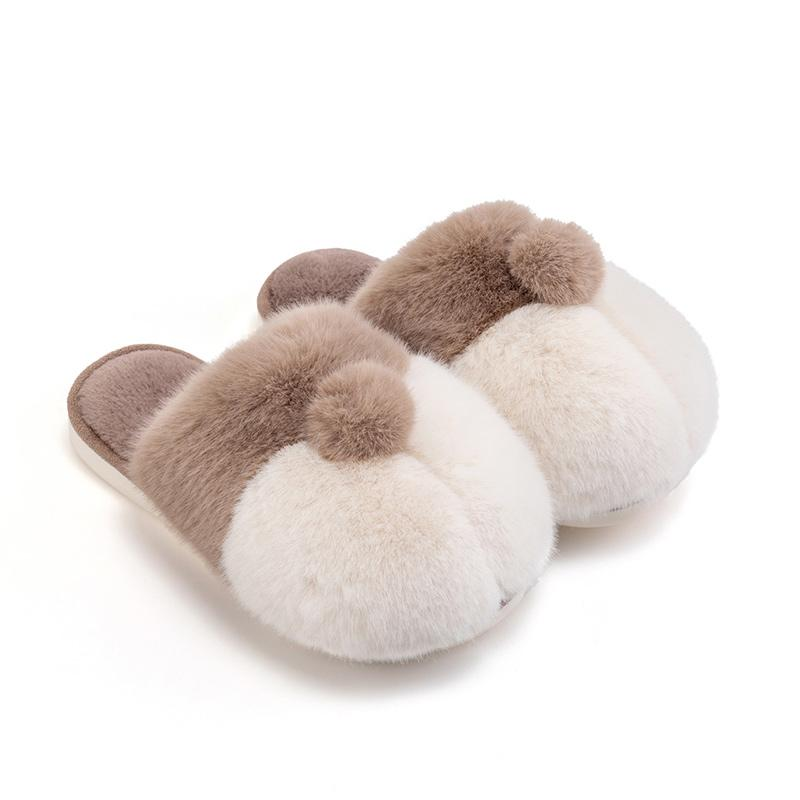 Modakawa Slippers Gray / 35-36 Corgi Ass Puppy Tail Coral Fleece Slippers