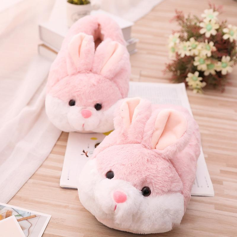 Modakawa Slippers Pink / One Size Cartoon Bunny Ears Cotton Plush Slippers