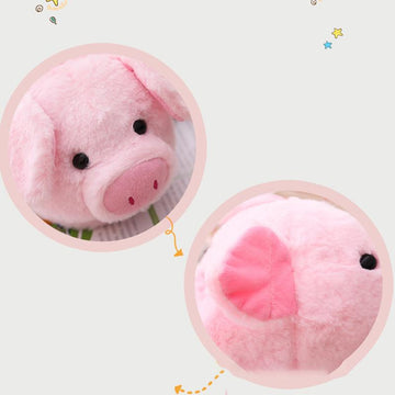 Modakawa Slippers Pink / One Size Cartoon Pig Ears Cotton Plush Slippers