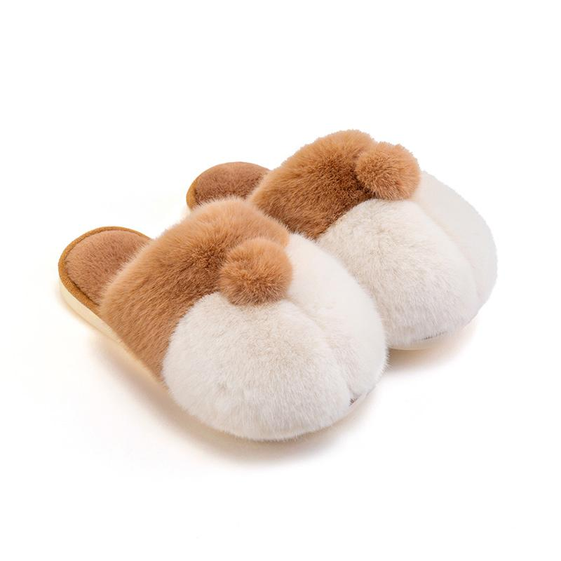 Modakawa Slippers Yellow / 35-36 Corgi Ass Puppy Tail Coral Fleece Slippers