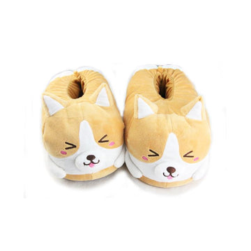 Modakawa Slippers Yellow / One Size Corgi Ears Ass Puppy Embroidery Cotton Slippers