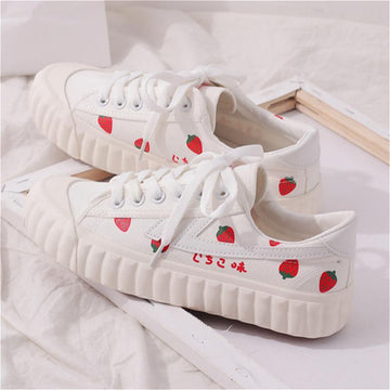Modakawa Sneakers Strawberry Shoes Canvas Casual Print Breathable Women