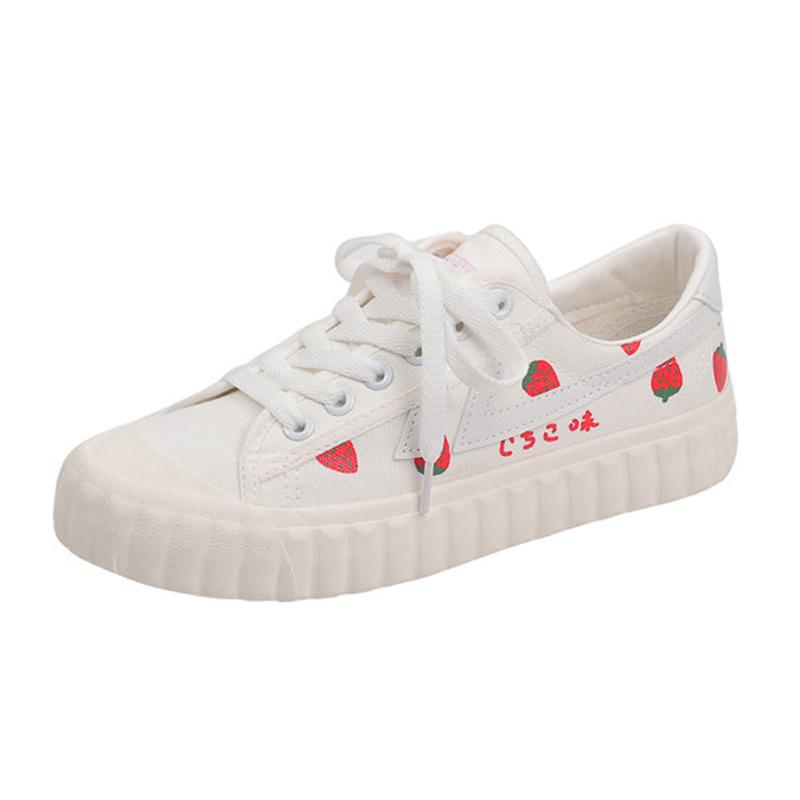 Modakawa Sneakers White / 35 Strawberry Shoes Canvas Casual Print Breathable Women