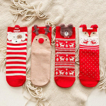 Modakawa Socks A / One Size Cute Cartoon Christmas Socks Red
