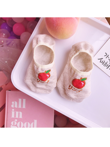 Modakawa Socks Apple Summer Kawaii Fruit No Show Socks