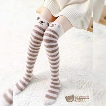 Modakawa Socks Bear / One Size Cute Cartoon Animal Stripe Design Thigh High Socks