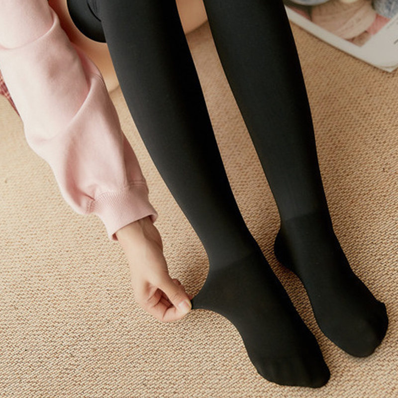 Modakawa Socks Black / One Size Inner Fleece Tights Stockings Color Block Warm