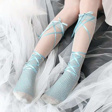 Modakawa Socks Blue-green Lolita Yarn Ribbon Bow Stockings