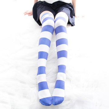 Modakawa Socks Blue / One Size Stripe Cat Claw Candy Color High Socks Long Over the Knee