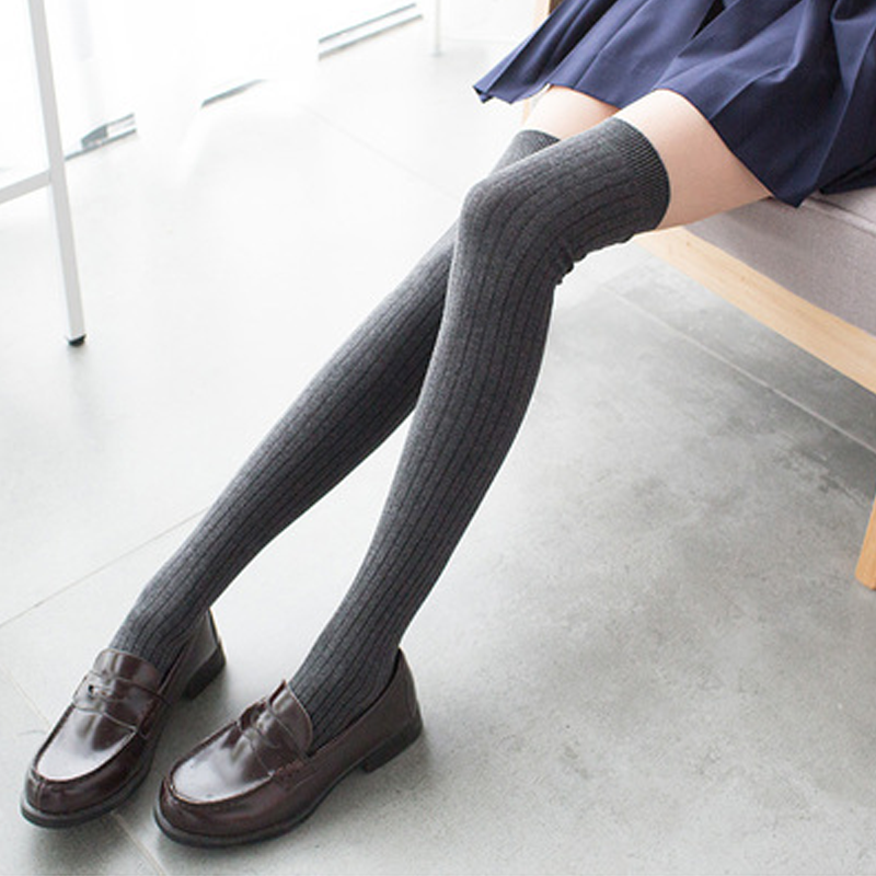Modakawa Socks Dark Grey School-girl Vertical Stripes Stockings