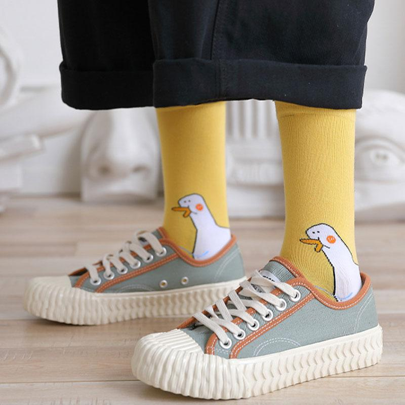 Modakawa Socks Goose Duck Cartoon Mid-calf Cotton Socks