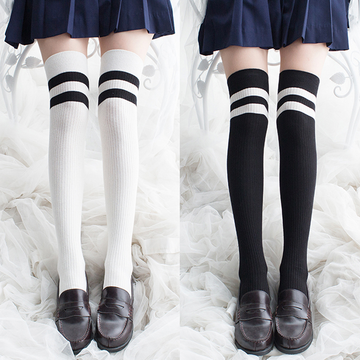 Modakawa Socks Japanese School-girl Stripes Cotton Stockings
