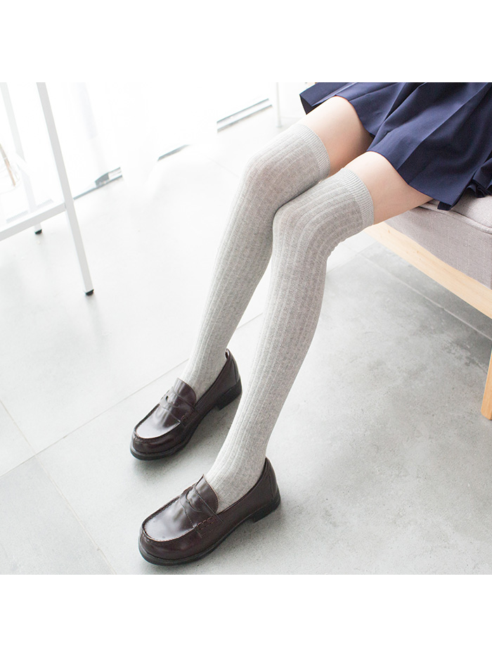 Modakawa Socks LIGHT GRAY School-girl Vertical stripes Stockings