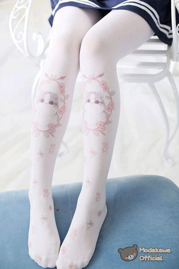 Modakawa Socks Lolita Cat Floral Tights